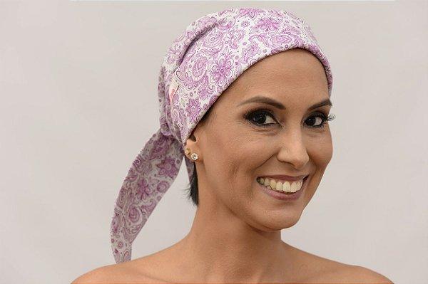 Lenço Quimioterapia Chapéu Lilás Arabescos