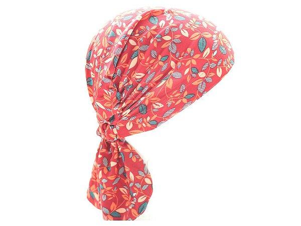 Lenço Quimioterapia Beanie Folhas Vermelho