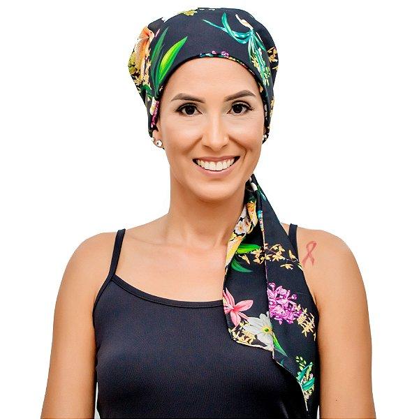 Lenço Quimioterapia Headscarf Preto Floral