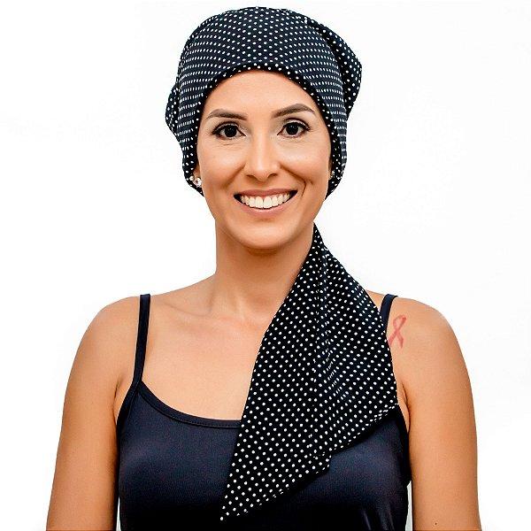 Lenço Quimioterapia Headscarf Preto Poa