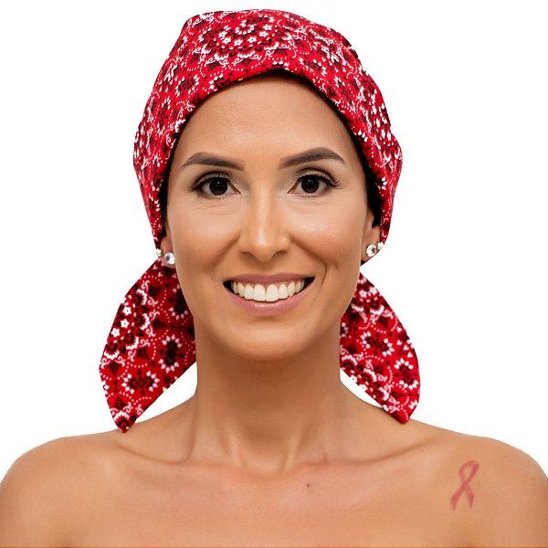 Lenço Quimioterapia Chapéu Vermelho Mandala