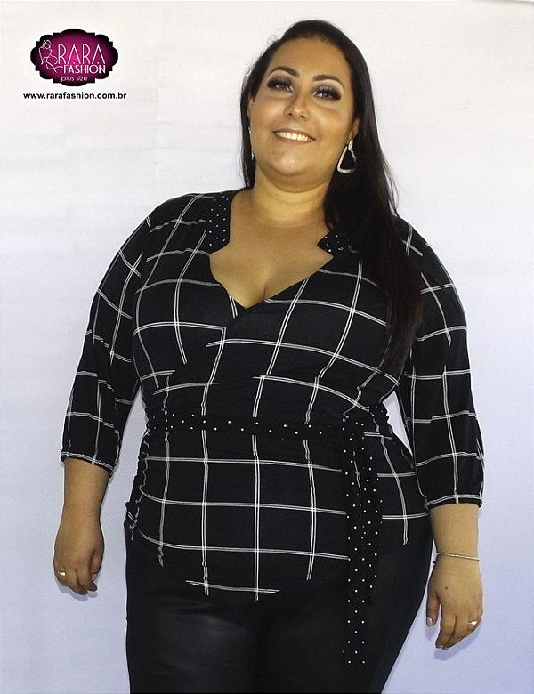 01949a428 Blusa Transpassada xadrez Plus Size - Moda Feminina Plus Size do ...