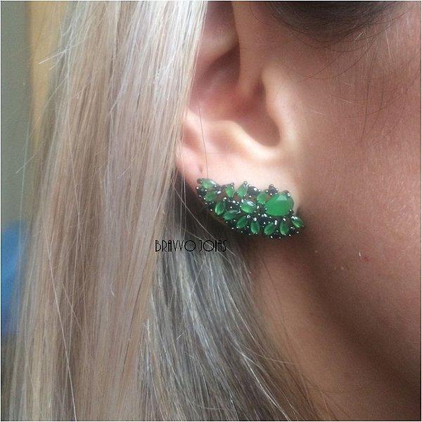 Brinco Ear Cuff Esmeralda Pedraria - Ródio Negro