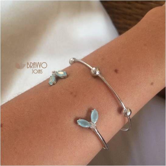 Bracelete Borboleta Turquesa - Ródio