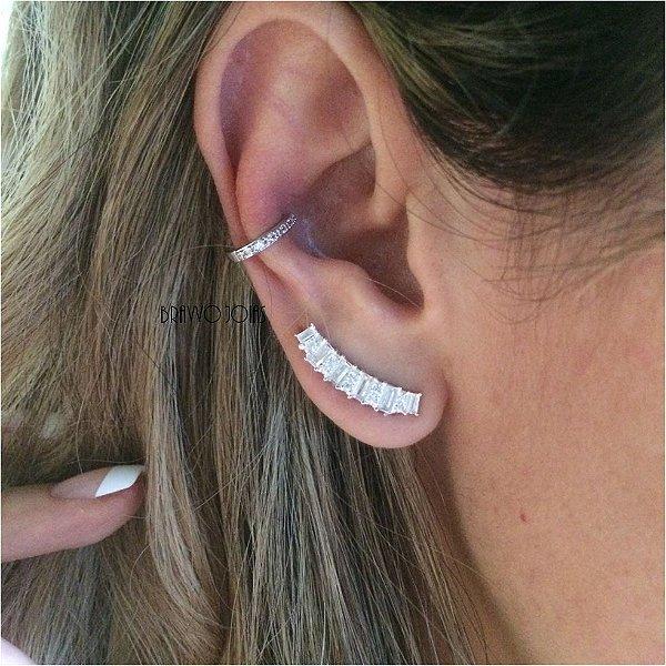 Brinco Ear Cuff Baguetes - Prata