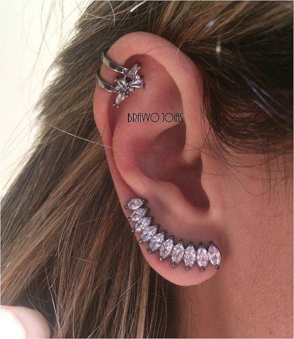Brinco Ear Cuff Navetes Helô - Ródio Negro
