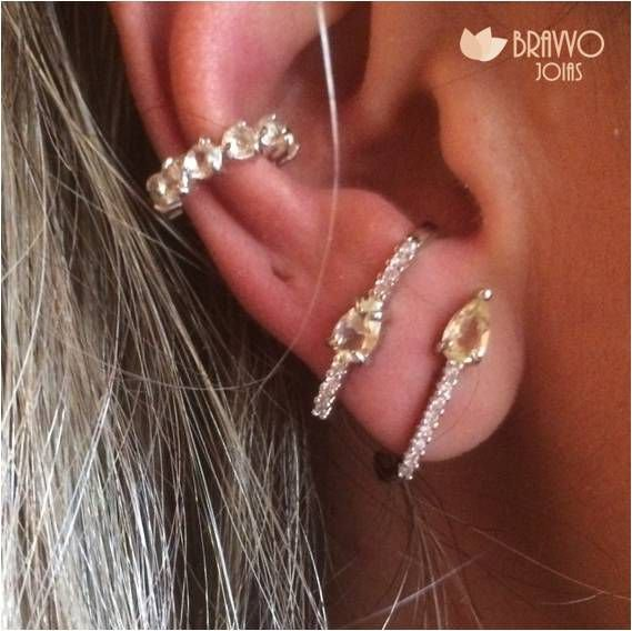 Brinco Ear Hook Citrino - Ródio
