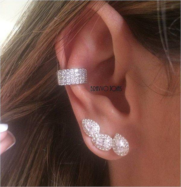 Brinco Ear Cuff Gotas - Prata