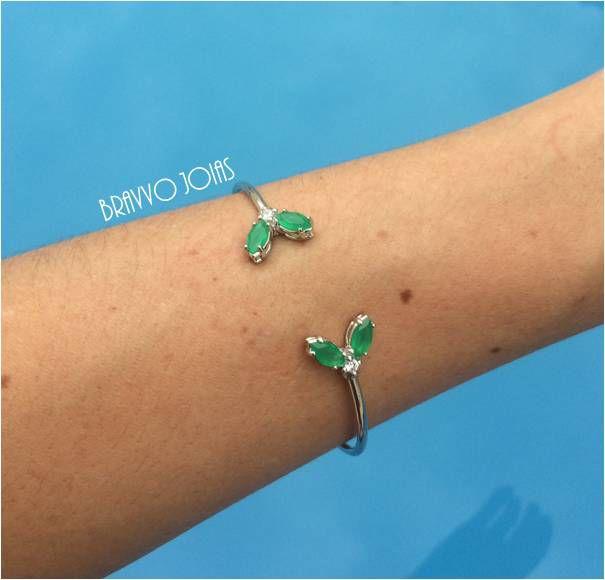 Bracelete Borboleta Esmeralda - Ródio