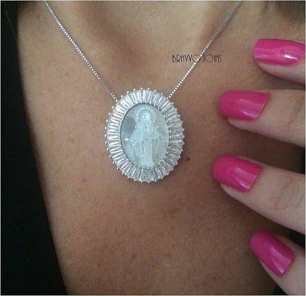 Colar Medalha Milagrosa Madre Pérola - Ródio