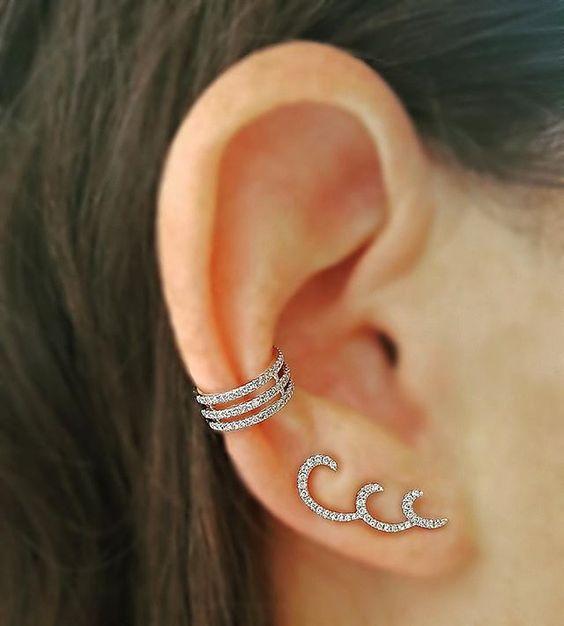 Brinco  Wave - Ródio - Ear Cuff