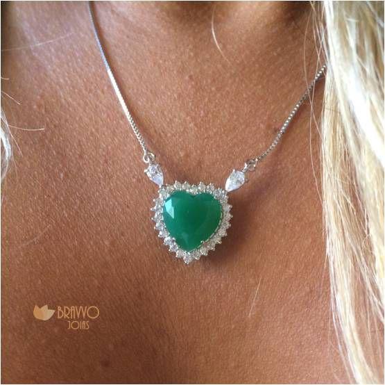 Colar  Coração Esmeralda - Ródio
