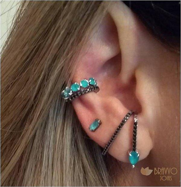 Brinco Ear Hook Turquesa