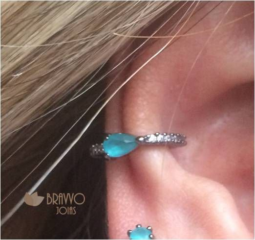 Piercing Fake Gota Turquesa - Ródio Negro