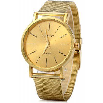 c3dc6b5a33f Relógio Geneva unissex Dourado Quartz com Pulseira de Malha de Aço ...