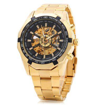 dc9294ccf62 Relógio de pulso Dourado Masculino Esqueleton Automático Luxuoso Ouro
