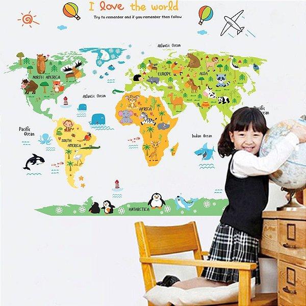 Adesivo decorativo Mapa Mundi Países Parede Bebe crianças infantil 90 x 60 cm