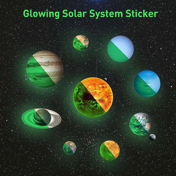 Planetas luminosos Adesivos de Parede de PVC Brilham No Escuro Dez Planetas Quarto Decalque Da Parede