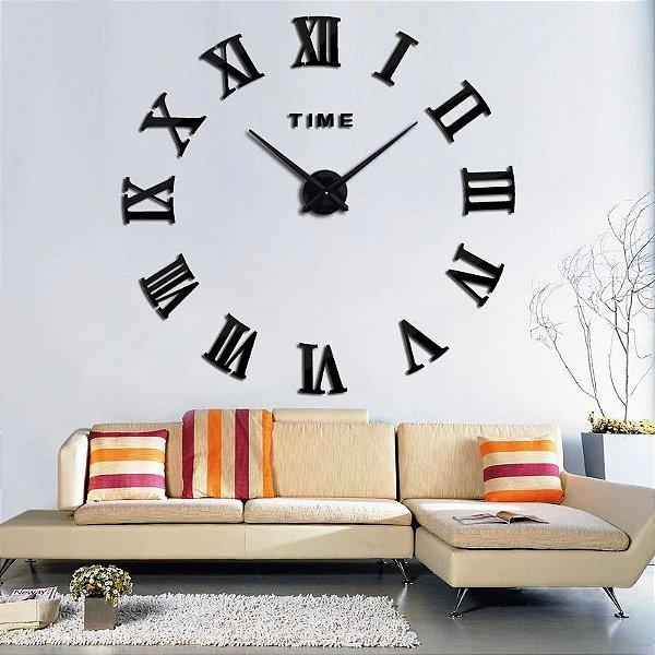 Relógio De Parede Grande Cor Preto Algarismo Romano