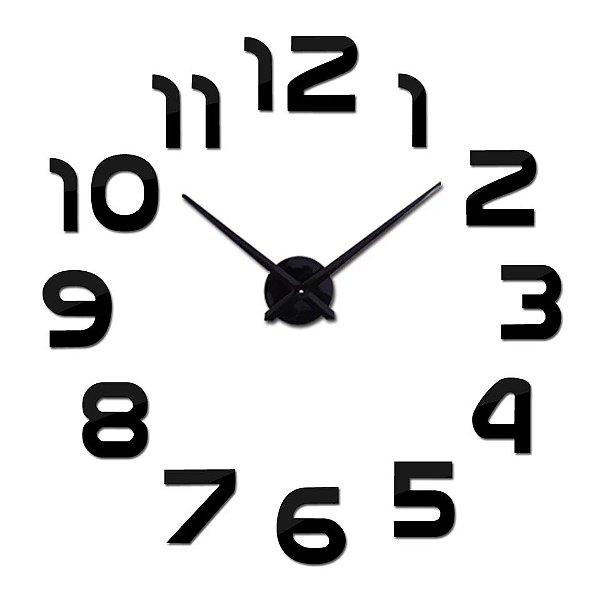Relógio de parede modelo 3D Número cor Preto espelhado acrílico