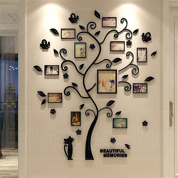 Adesivo decorativo 3D de árvore genealógica acrílico preto