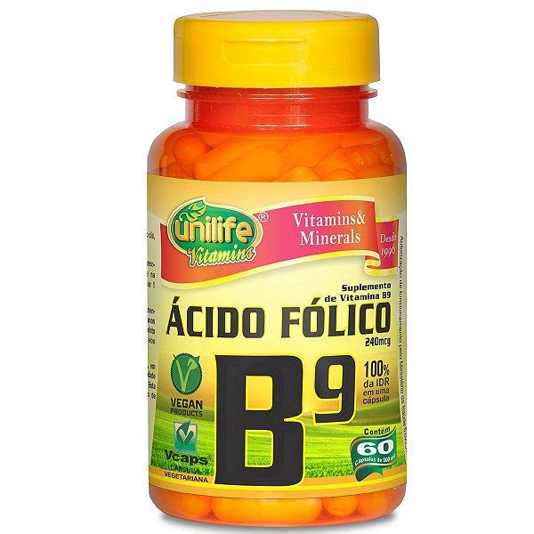 Vitamina B9 acido fólico 60 capsulas 500mg - Unilife