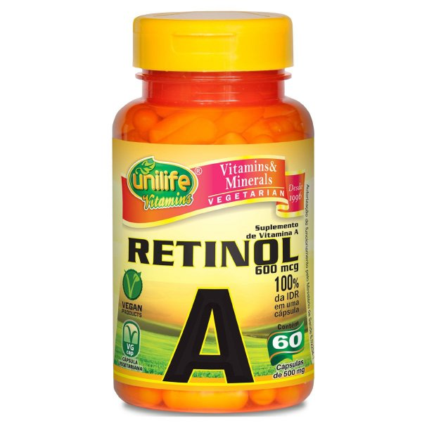 Vitamina A retinol 60capsulas 500mg - Unilife