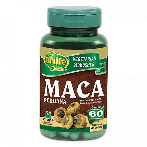 Maca peruana c/ vitamina 60 capsulas 500mg - Unilife