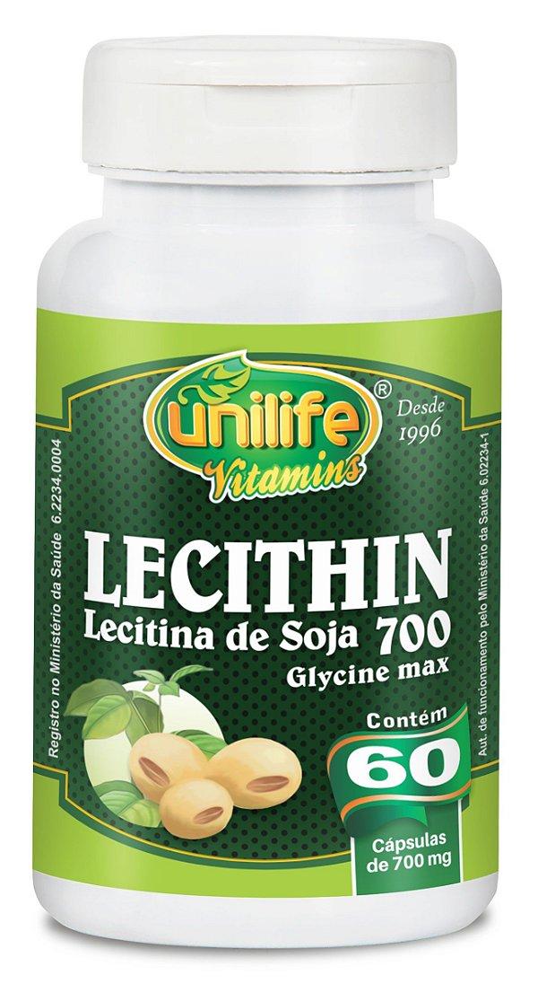 Lecithin lecitina soja 60capsulas 700mg - Unilife