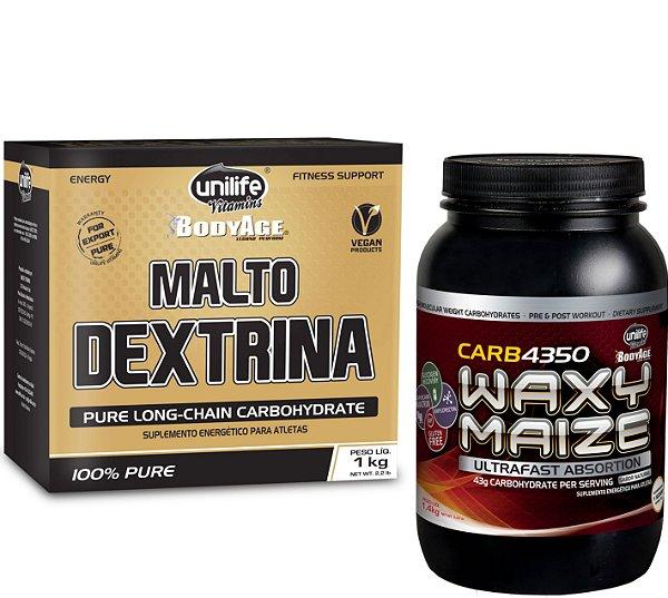 """Kit 1 Pote CARB4350 + 1 Caixa de Maltodextrina 1kg """"Natural"""""""
