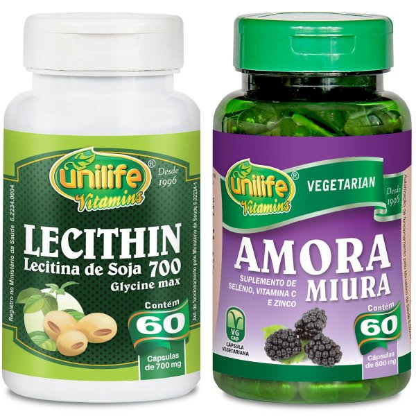 Kit menopausa 1  Lecithin 700mg 60caps+1 amora Miura 500mg 60caps - Unilife