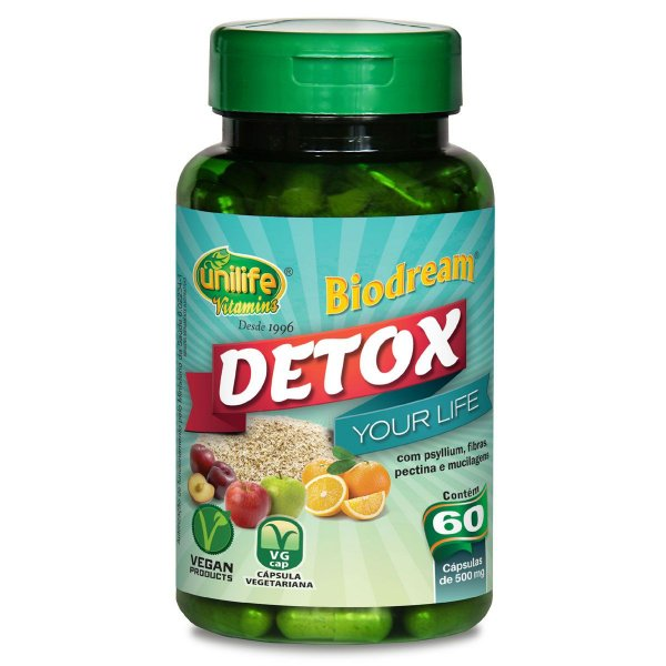 Detox 500mg - 120 capsulas Unilife