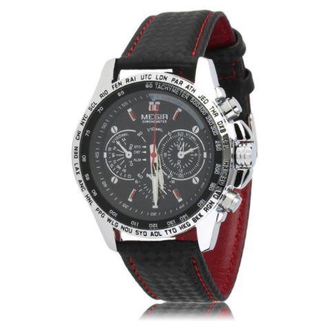 5a51390bb14 Relogio Masculino Luxo Esportivo Megir Black Red - MERCATO27