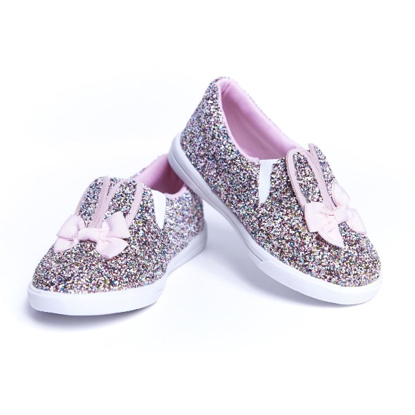 Tenis Slip On. Glitter Orelhinhas. Multicor.