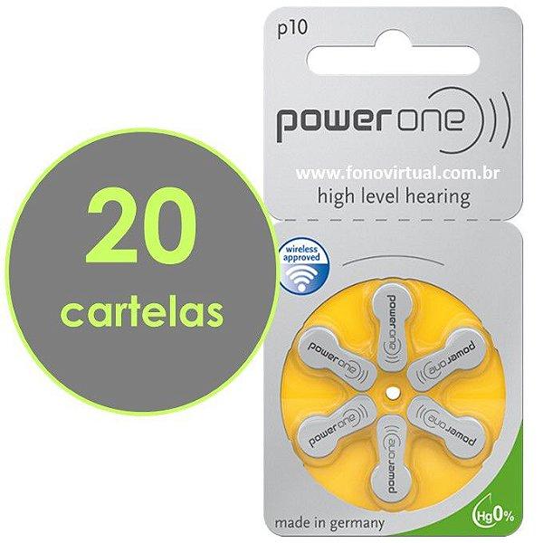 Pilhas Para Aparelho Auditivo POWER ONE P10 / PR70 - Mercury Free - 120 baterias