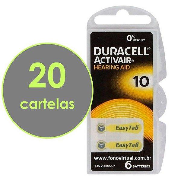 Pilhas DURACELL 10 / PR70 Para Aparelho Auditivo - Mercury Free ActivAir - 120 baterias
