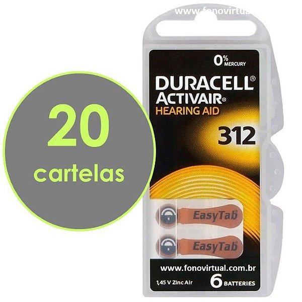 Pilhas DURACELL 312 / PR41 Para Aparelho Auditivo - Mercury Free ActivAir - 120 baterias