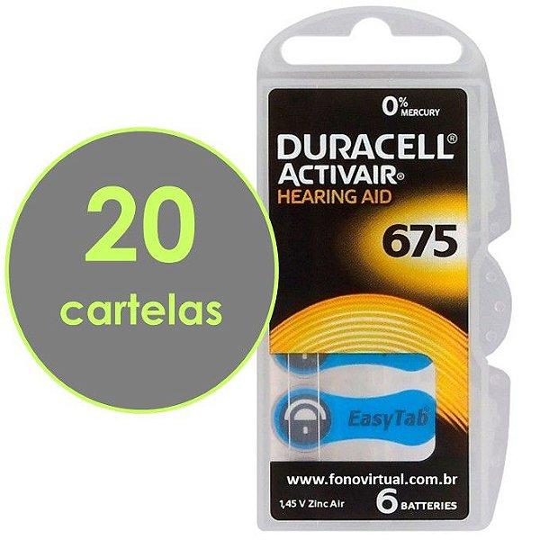 Pilhas DURACELL 675 / PR44 Para Aparelho Auditivo - Mercury Free ActivAir - 120 baterias