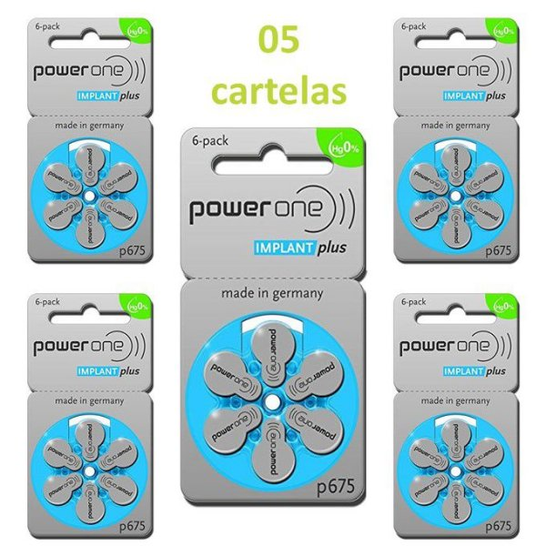 Pilha Para Implante Coclear Implant Plus P675 - Power One - 30 Baterias