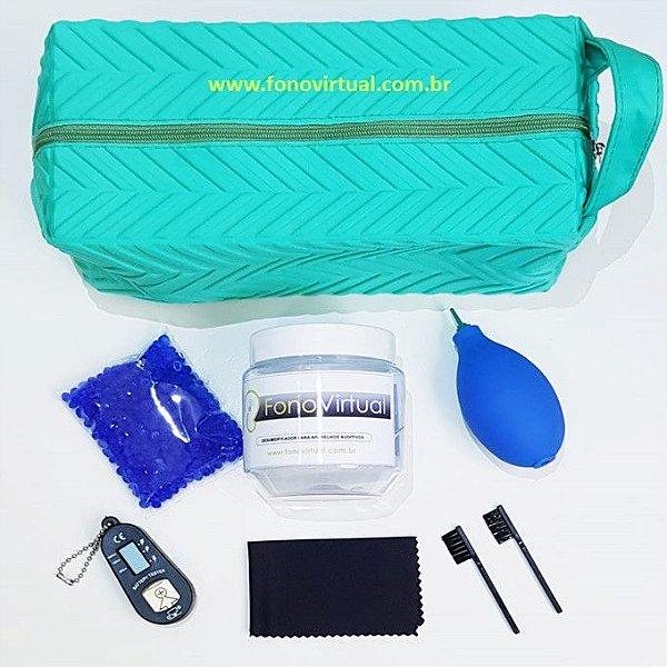 Kit básico de manutenção e de limpeza para aparelho auditivo retroauricular com molde