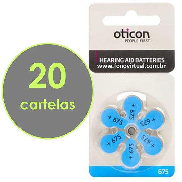 Bateria Para Aparelho Auditivo OTICON 675 / PR44 - 120 pilhas