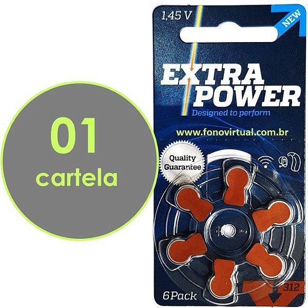 06 Baterias EXTRA POWER 312 / PR41Para Aparelho Auditivo