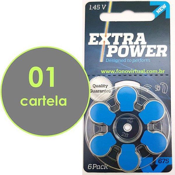06 Baterias EXTRA POWER 675 / PR44 Para Aparelho Auditivo