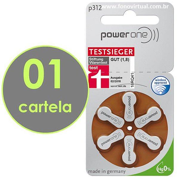 06 Baterias POWER ONE P312 / PR41 - Mercury Free - Para Aparelho Auditivo