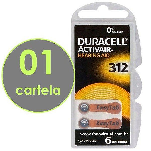 06 Baterias DURACELL 312 / PR41 - Para Aparelho Auditivo
