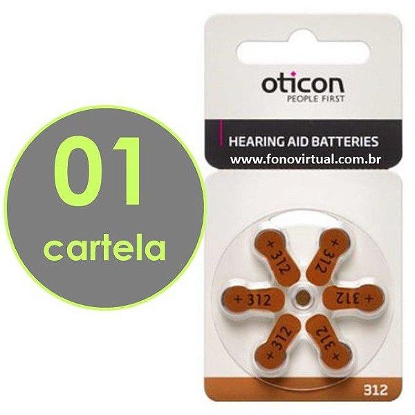 06 Baterias OTICON 312 / PR41 - Para Aparelho Auditivo