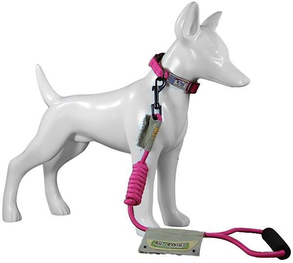 Coleira e Guia Para Cachorro Au Pink