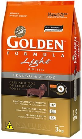 Ração Golden Formula Light Adultos Frango e Arroz Mini bits