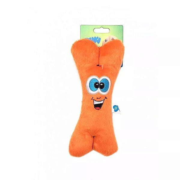 Brinquedo Para Cachorro Pelúcia Ossinho Laranja Duki