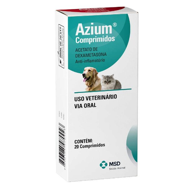 Anti-inflamatório Para Cães e Gatos MSD Azium 20 Comprimidos
